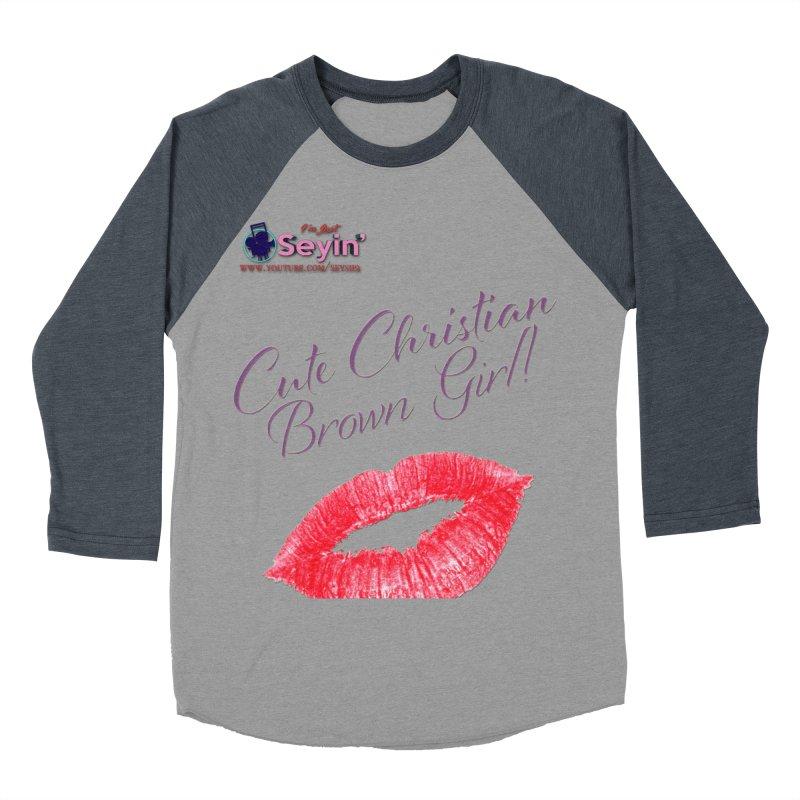 Cute Christian Brown Girl Men's Baseball Triblend Longsleeve T-Shirt by I'm Just Seyin' Shoppe
