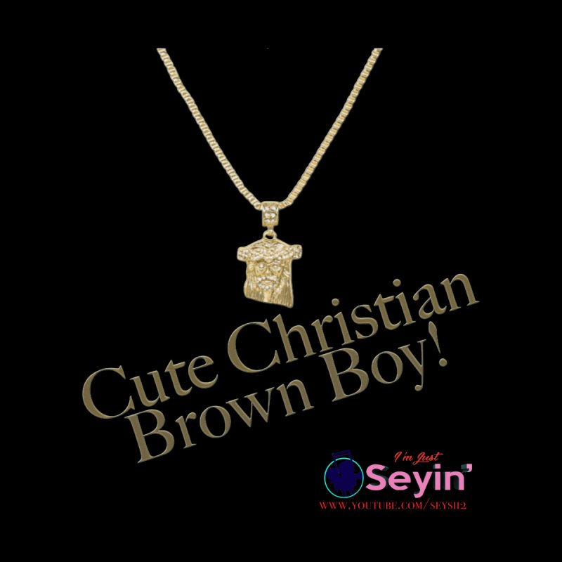 Cute Christian Brown Boy Men's V-Neck by I'm Just Seyin' Shoppe