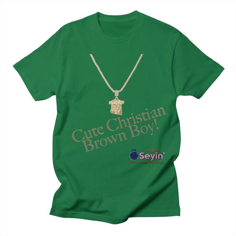 Cute Christian Brown Boy Men's T-Shirt by I'm Just Seyin' Shoppe