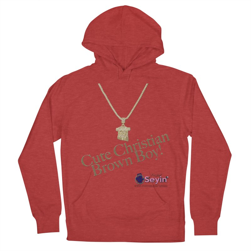 Cute Christian Brown Boy Men's French Terry Pullover Hoody by I'm Just Seyin' Shoppe