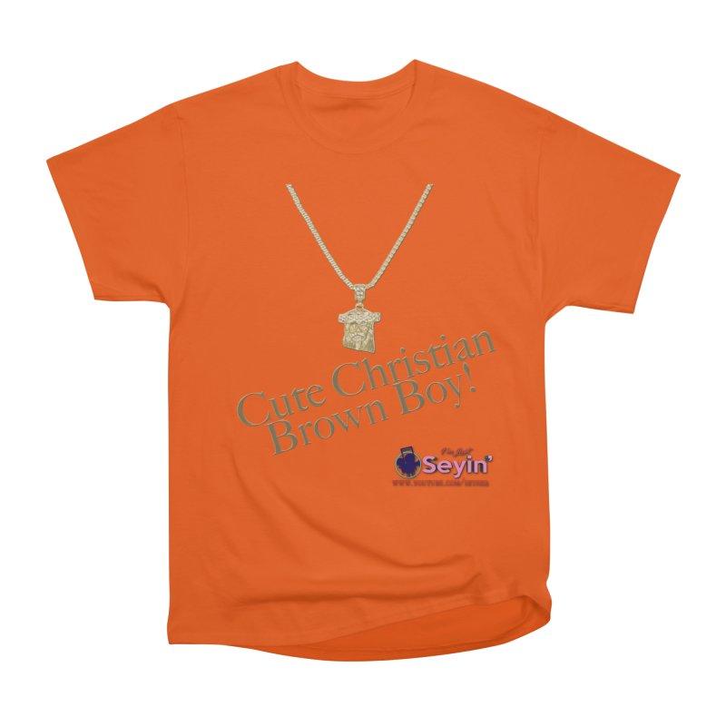Cute Christian Brown Boy Men's Heavyweight T-Shirt by I'm Just Seyin' Shoppe