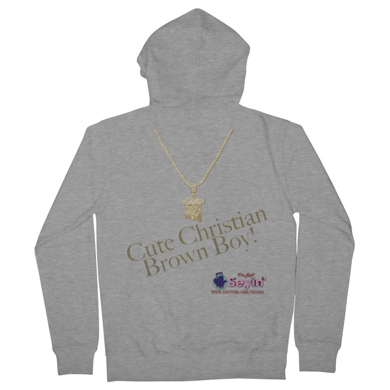 Cute Christian Brown Boy Women's French Terry Zip-Up Hoody by I'm Just Seyin' Shoppe