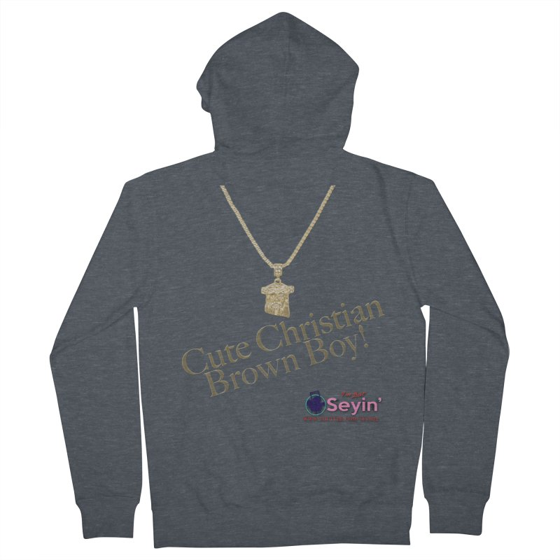 Cute Christian Brown Boy Men's French Terry Zip-Up Hoody by I'm Just Seyin' Shoppe