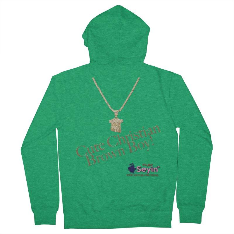 Cute Christian Brown Boy Men's Zip-Up Hoody by I'm Just Seyin' Shoppe