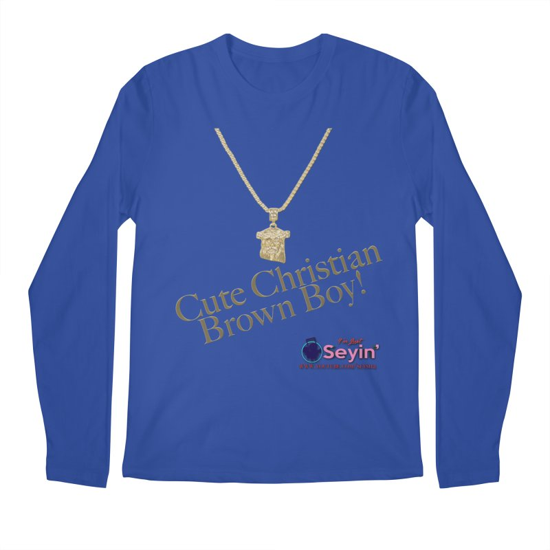 Cute Christian Brown Boy Men's Regular Longsleeve T-Shirt by I'm Just Seyin' Shoppe