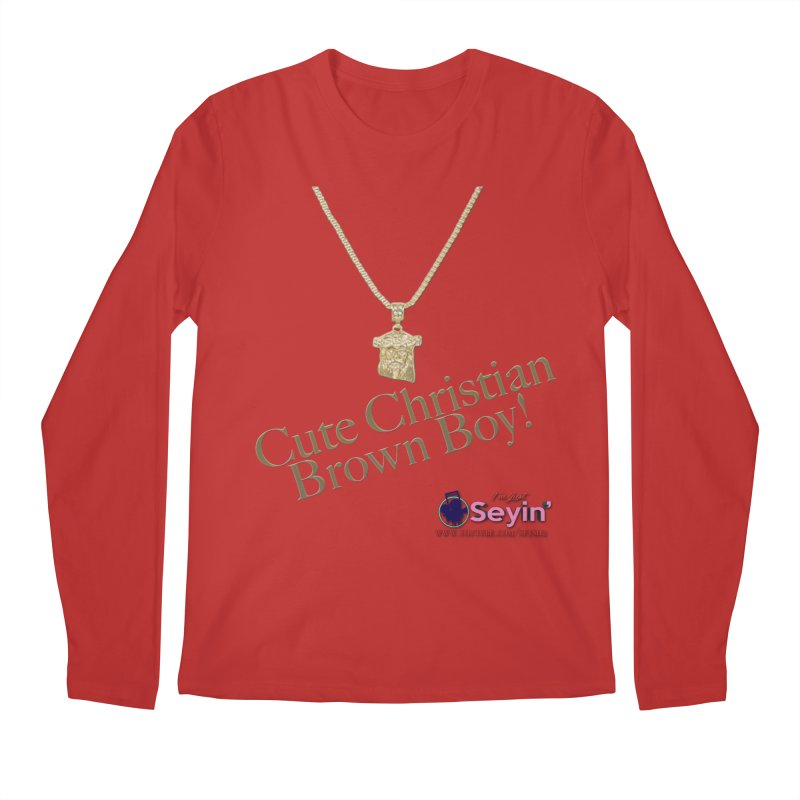 Cute Christian Brown Boy Men's Longsleeve T-Shirt by I'm Just Seyin' Shoppe