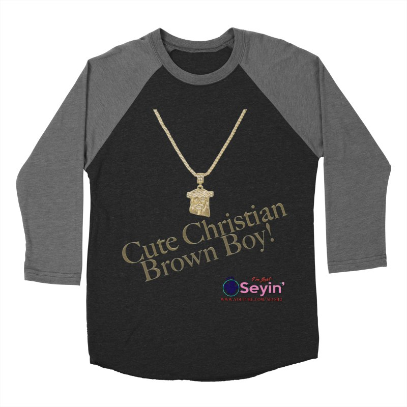 Cute Christian Brown Boy Women's Baseball Triblend Longsleeve T-Shirt by I'm Just Seyin' Shoppe