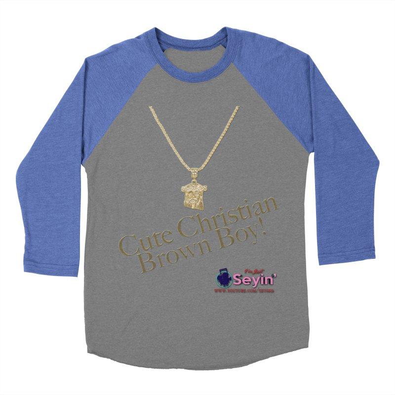 Cute Christian Brown Boy Men's Baseball Triblend Longsleeve T-Shirt by I'm Just Seyin' Shoppe