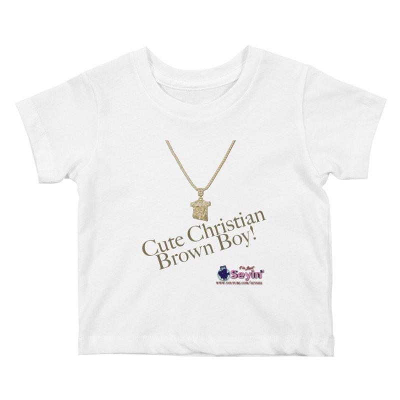 Cute Christian Brown Boy Kids Baby T-Shirt by I'm Just Seyin' Shoppe