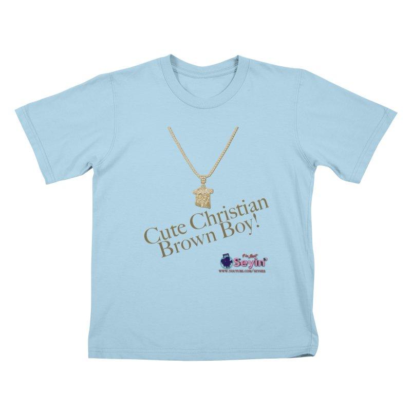 Cute Christian Brown Boy Kids T-Shirt by I'm Just Seyin' Shoppe