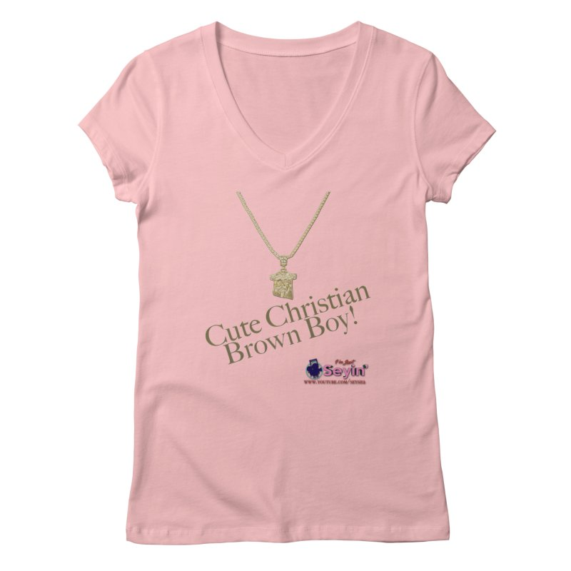 Cute Christian Brown Boy Women's Regular V-Neck by I'm Just Seyin' Shoppe