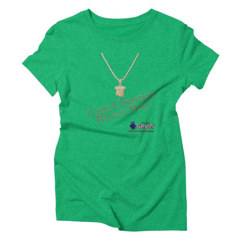 Cute Christian Brown Boy Women's Triblend T-Shirt by I'm Just Seyin' Shoppe