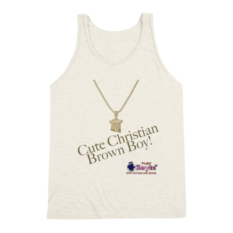 Cute Christian Brown Boy Men's Triblend Tank by I'm Just Seyin' Shoppe