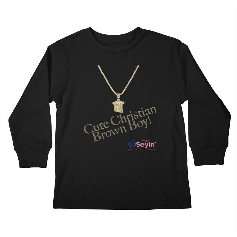 Cute Christian Brown Boy Kids Longsleeve T-Shirt by I'm Just Seyin' Shoppe
