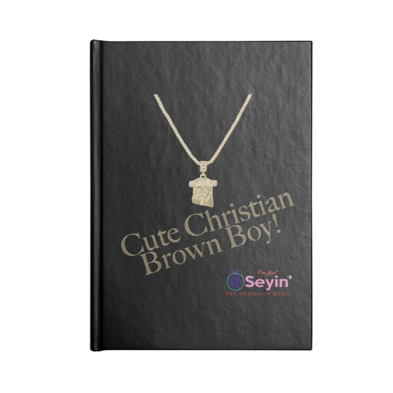 Cute Christian Brown Boy Accessories Blank Journal Notebook by I'm Just Seyin' Shoppe