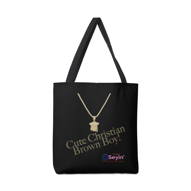 Cute Christian Brown Boy Accessories Tote Bag Bag by I'm Just Seyin' Shoppe