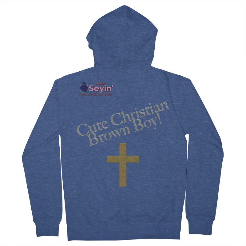 Cute Christian Brown Boy 2 Women's French Terry Zip-Up Hoody by I'm Just Seyin' Shoppe