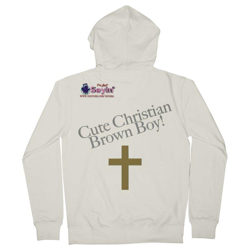 Cute Christian Brown Boy 2 Women's French Terry Zip-Up Hoody by I'm Just Seyin' Shoppe