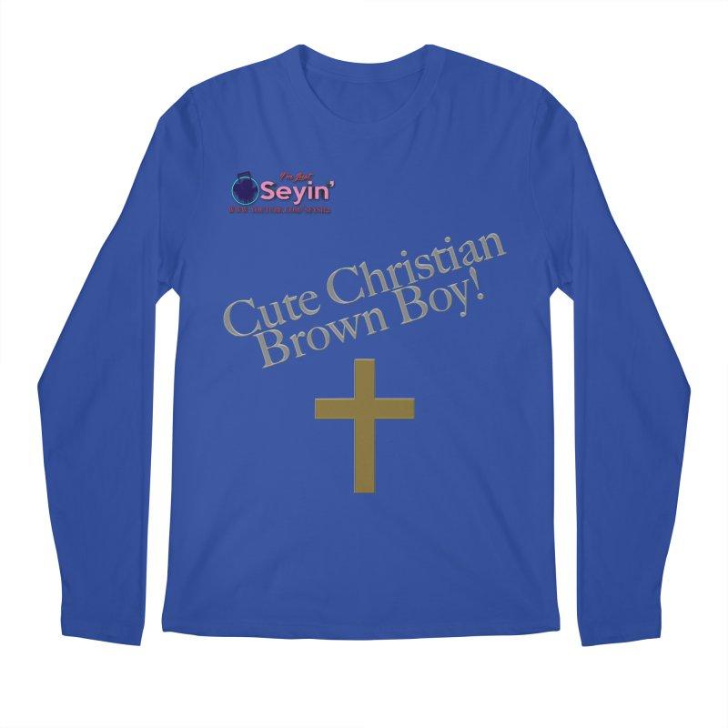 Cute Christian Brown Boy 2 Men's Regular Longsleeve T-Shirt by I'm Just Seyin' Shoppe