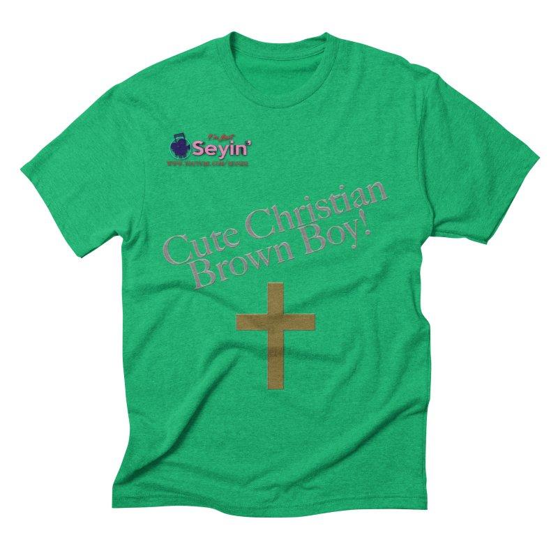 Cute Christian Brown Boy 2 Men's Triblend T-Shirt by I'm Just Seyin' Shoppe