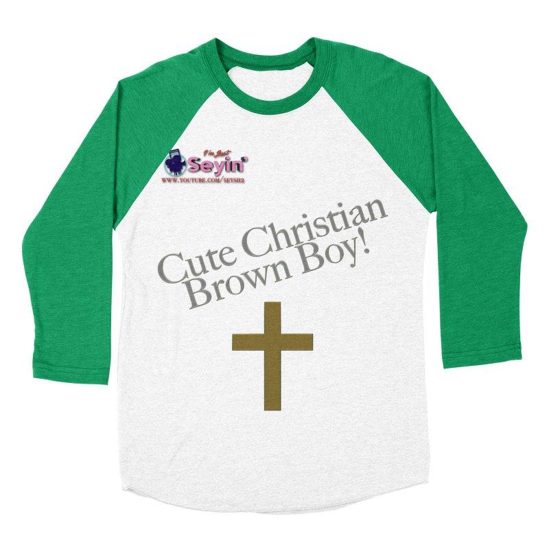 Cute Christian Brown Boy 2 Men's Baseball Triblend Longsleeve T-Shirt by I'm Just Seyin' Shoppe