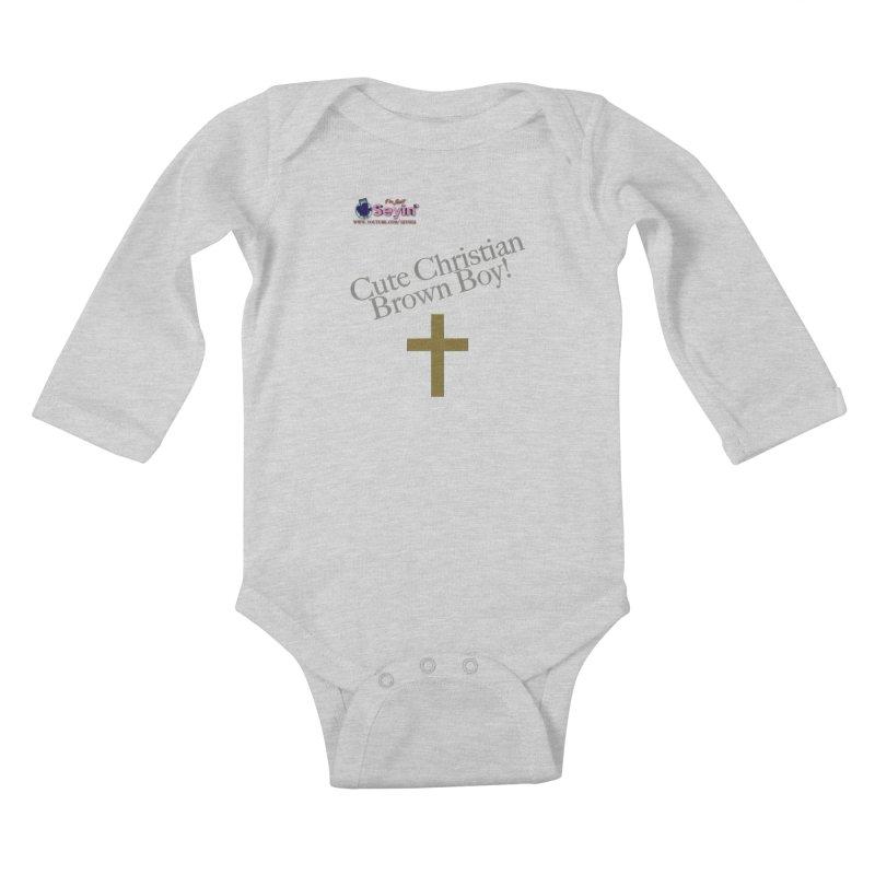 Cute Christian Brown Boy 2 Kids Baby Longsleeve Bodysuit by I'm Just Seyin' Shoppe