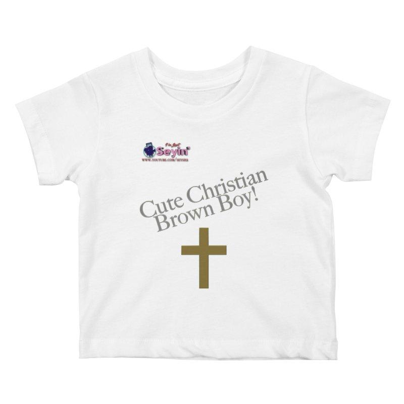 Cute Christian Brown Boy 2 Kids Baby T-Shirt by I'm Just Seyin' Shoppe