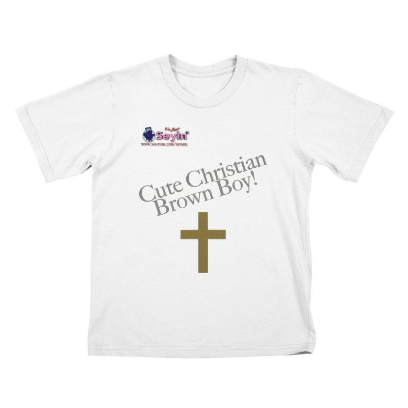Cute Christian Brown Boy 2 Kids T-Shirt by I'm Just Seyin' Shoppe