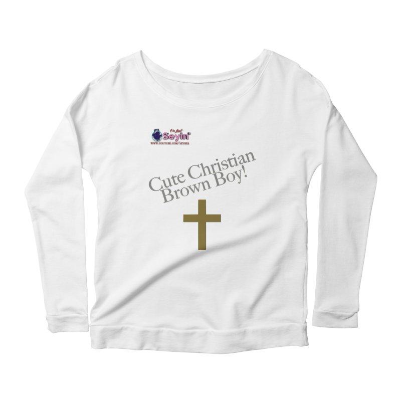 Cute Christian Brown Boy 2 Women's Scoop Neck Longsleeve T-Shirt by I'm Just Seyin' Shoppe
