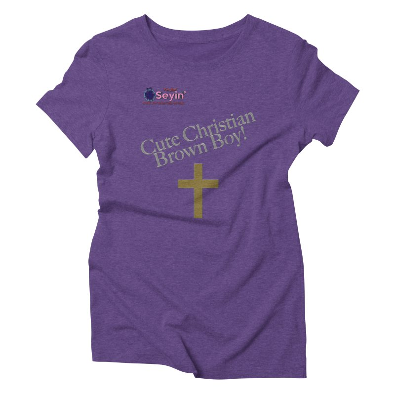 Cute Christian Brown Boy 2 Women's Triblend T-Shirt by I'm Just Seyin' Shoppe