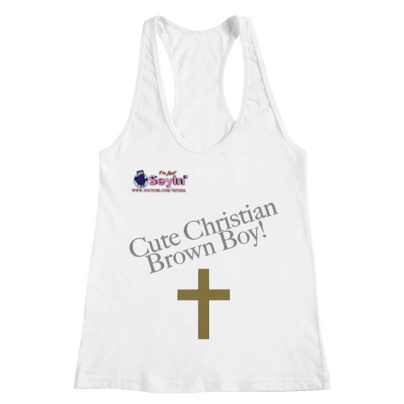 Cute Christian Brown Boy 2 Women's Racerback Tank by I'm Just Seyin' Shoppe