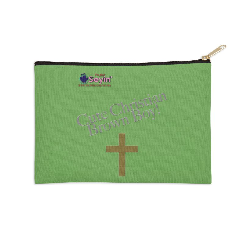 Cute Christian Brown Boy 2 Accessories Zip Pouch by I'm Just Seyin' Shoppe