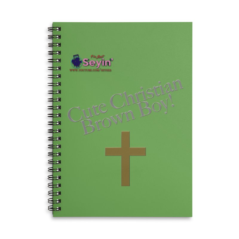 Cute Christian Brown Boy 2 Accessories Lined Spiral Notebook by I'm Just Seyin' Shoppe