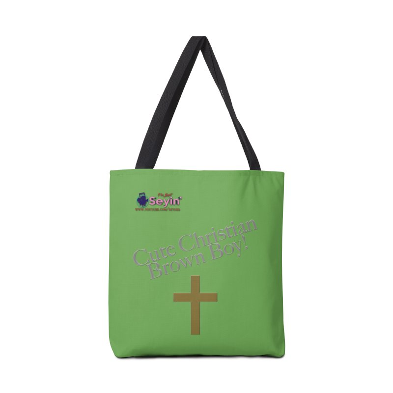 Cute Christian Brown Boy 2 Accessories Tote Bag Bag by I'm Just Seyin' Shoppe