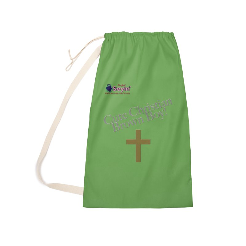 Cute Christian Brown Boy 2 Accessories Laundry Bag Bag by I'm Just Seyin' Shoppe