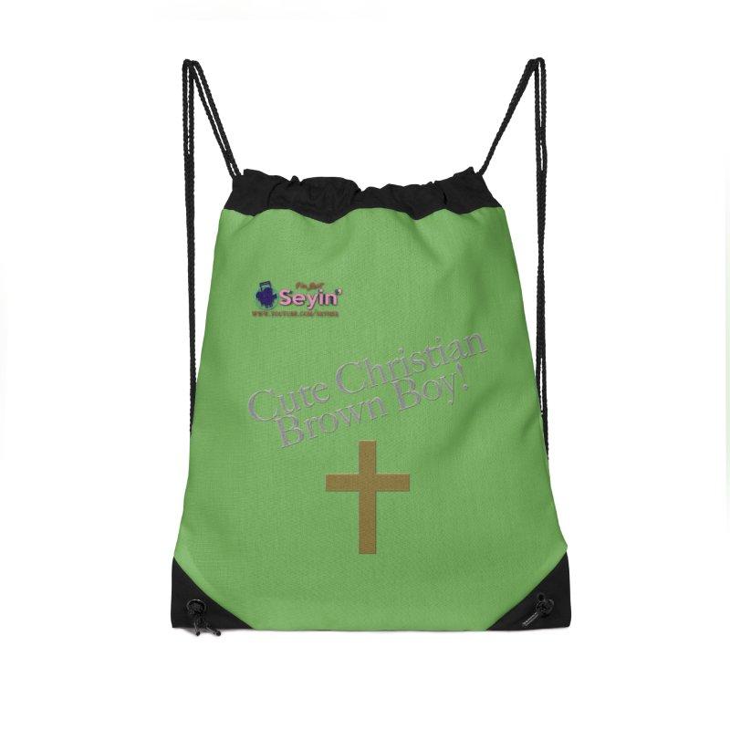 Cute Christian Brown Boy 2 Accessories Drawstring Bag Bag by I'm Just Seyin' Shoppe