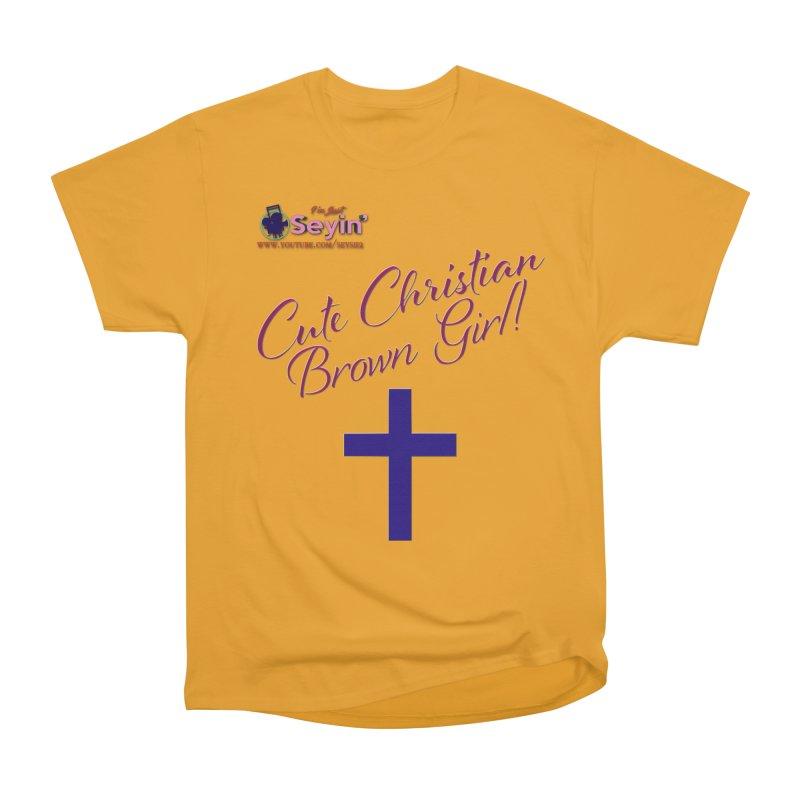 Cute Christian Brown Girl 2 Men's Heavyweight T-Shirt by I'm Just Seyin' Shoppe