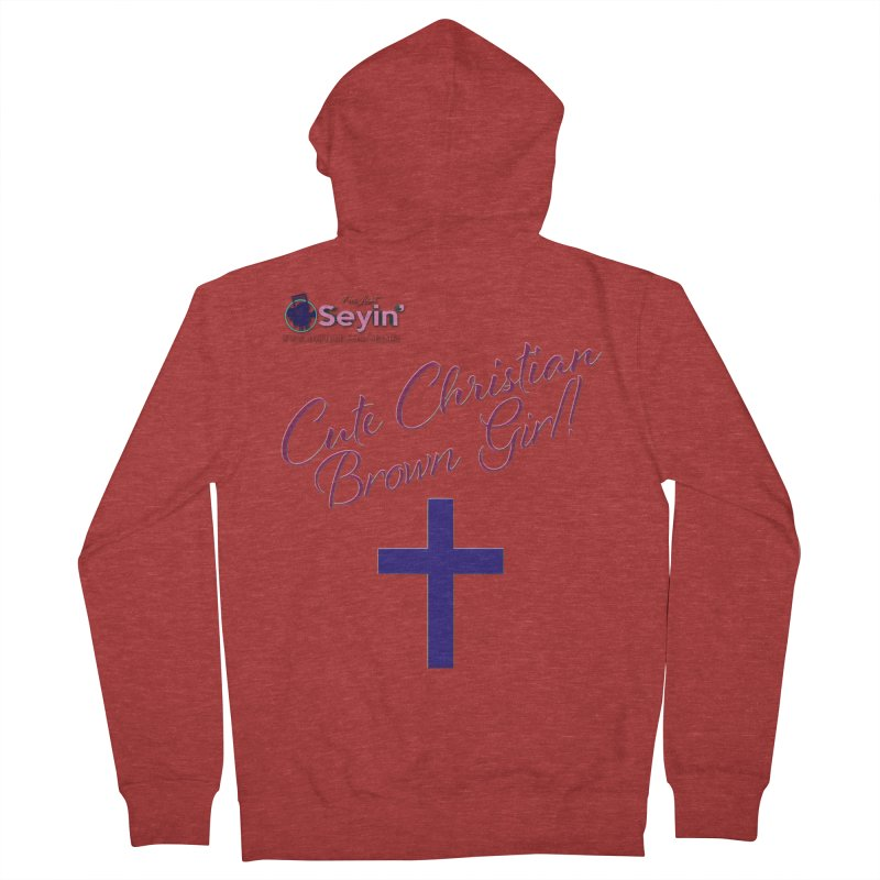 Cute Christian Brown Girl 2 Men's French Terry Zip-Up Hoody by I'm Just Seyin' Shoppe