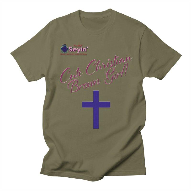 Cute Christian Brown Girl 2 Men's Regular T-Shirt by I'm Just Seyin' Shoppe