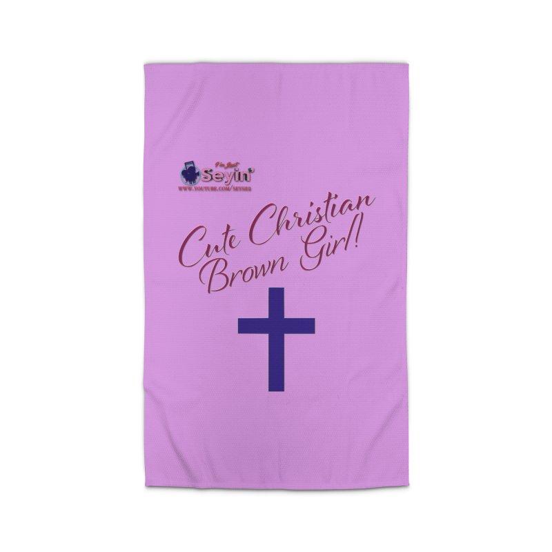 Cute Christian Brown Girl 2 Home Rug by I'm Just Seyin' Shoppe