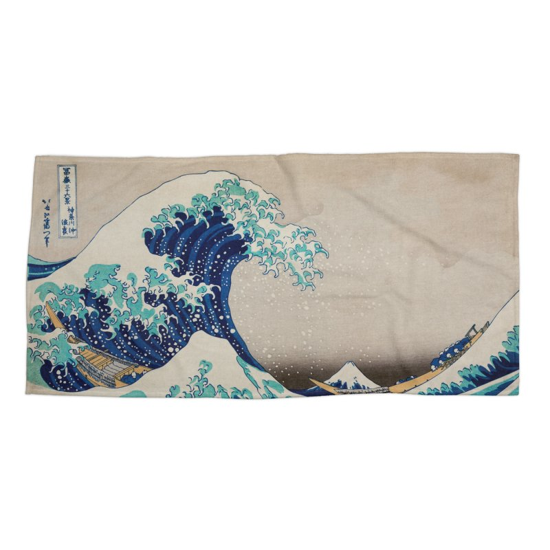 The Great Wave Off Kanagawa -Kanazawa Oki Nami Ura - Japanese Tsunami Wave Accessories Beach Towel by SFT Design Studio
