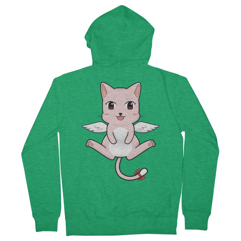 Flying pink cat Men's French Terry Zip-Up Hoody by Shadee's cute shop