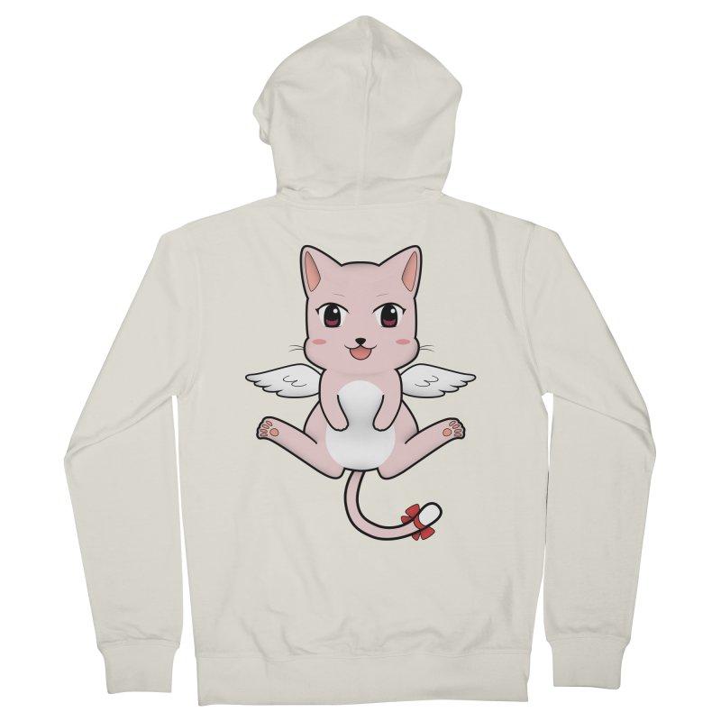 Flying pink cat Men's Zip-Up Hoody by Shadee's cute shop