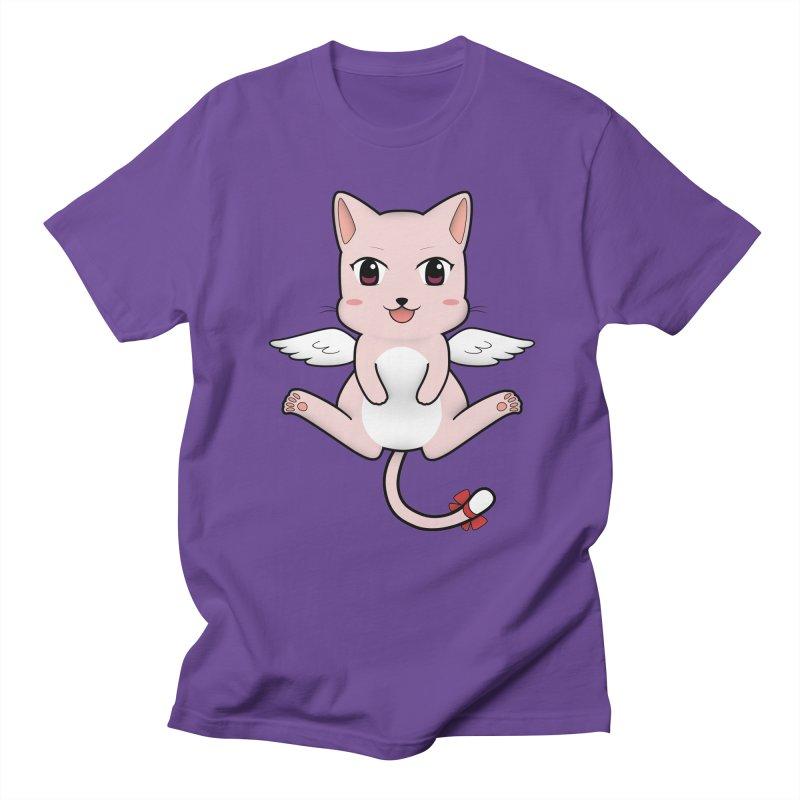 Flying pink cat Men's Regular T-Shirt by Shadee's cute shop