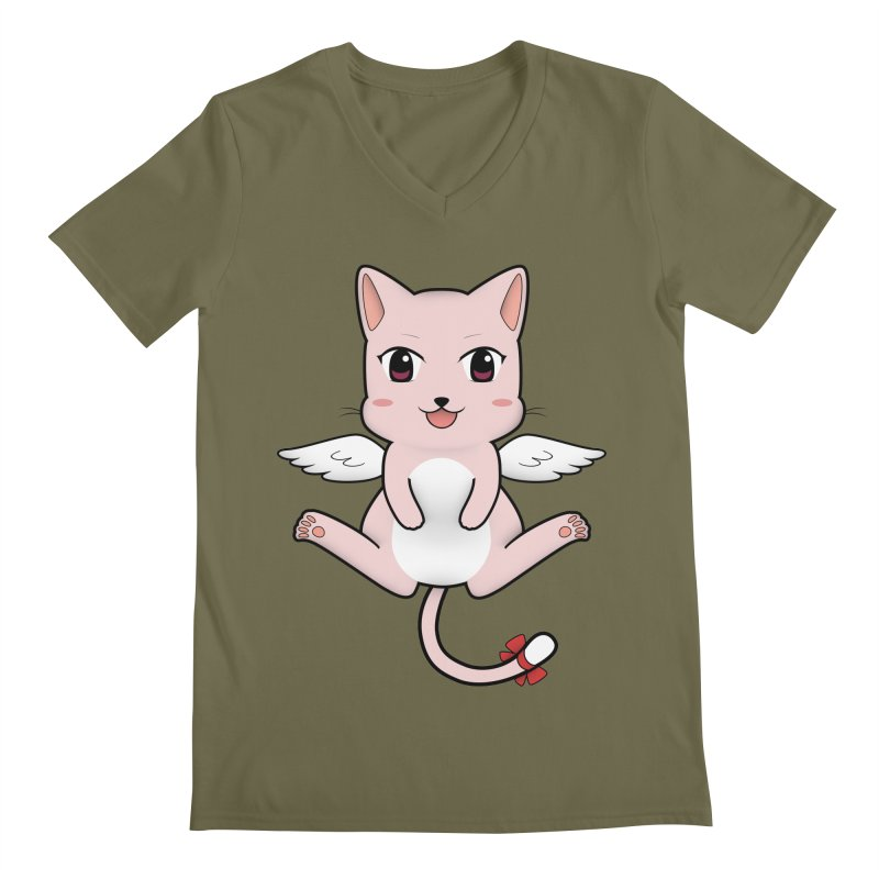 Flying pink cat Men's Regular V-Neck by Shadee's cute shop