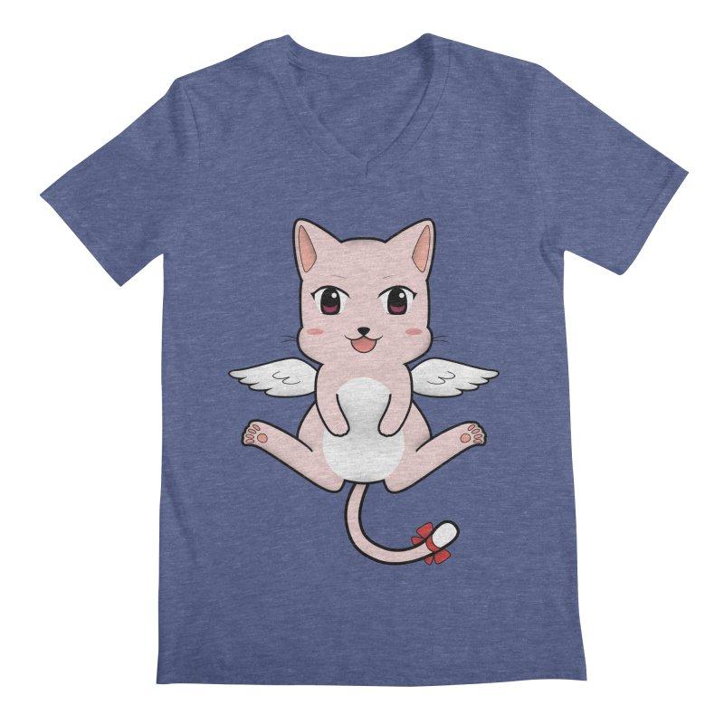 Flying pink cat Men's Regular V-Neck by Shadee's cute shop