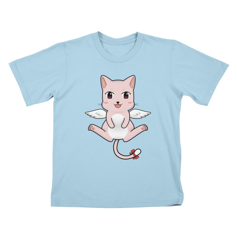 Flying pink cat Kids T-Shirt by Shadee's cute shop