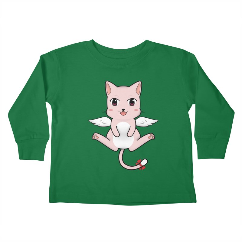 Flying pink cat Kids Toddler Longsleeve T-Shirt by Shadee's cute shop