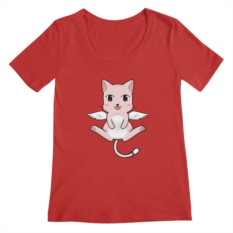 Flying pink cat Women's Regular Scoop Neck by Shadee's cute shop