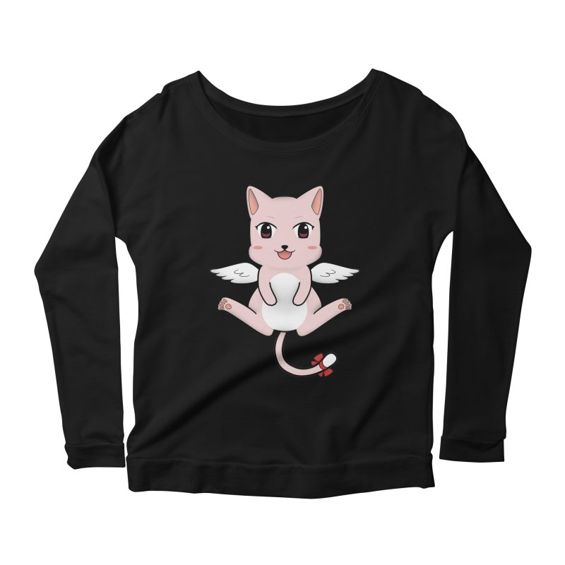 Flying pink cat Women's Scoop Neck Longsleeve T-Shirt by Shadee's cute shop